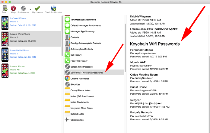 View and recover saved Wi-Fi passwords from any iPhone using Decipher Backup Browser