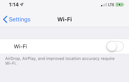 But on iPhone where wifi switch won't turn on, or turns on and turns off after a few seconds.