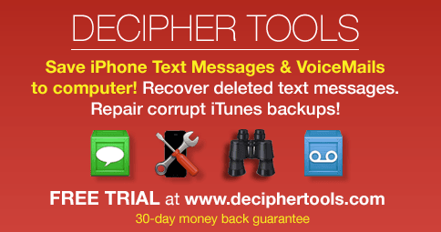 Decipher Tools Software for iPhone - Save Text Messages