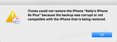 iTunes error dialog box showing the error that an iPhone backup is corrupt