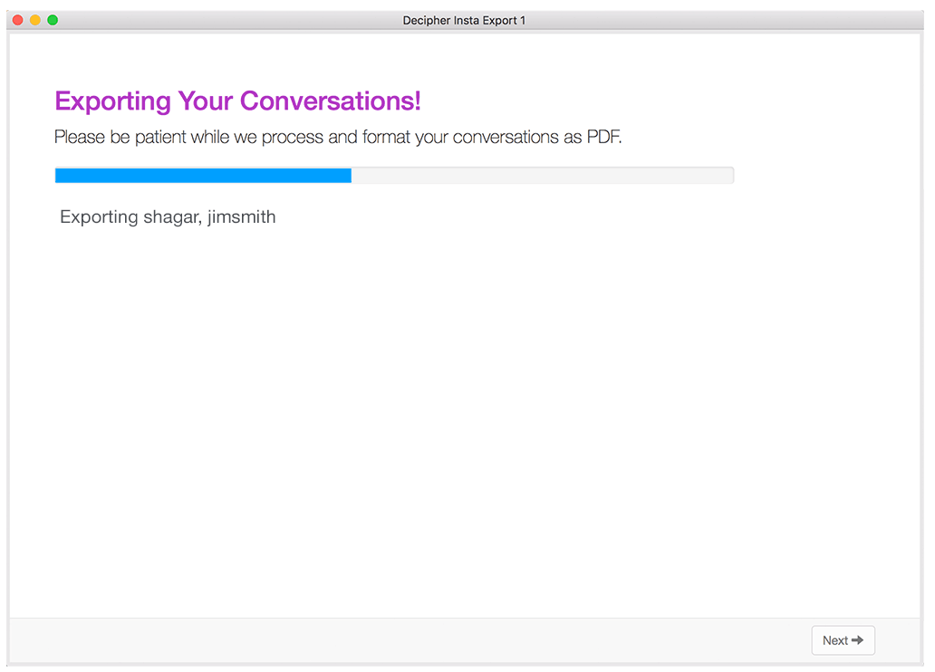 Resulting PDF of Messenger chat conversation exported to PDF using Decipher Messenger Export.