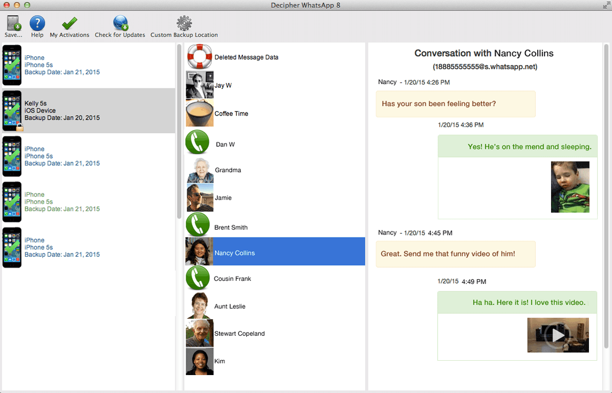 Save WhatsApp messages from iPhone to Mac for backup or printing.