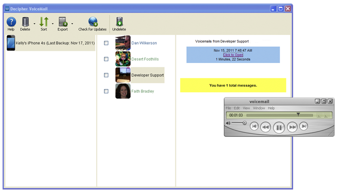 Export iPhone voicemails to your Windows PC