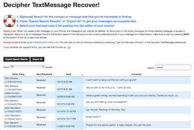 Recover deleted text messages with Decipher TextMessage.
