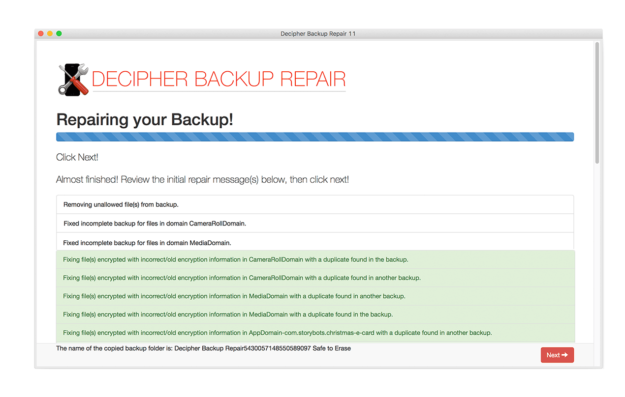 See issues as they are fixed in the broken backup, as well as how they are fixed.