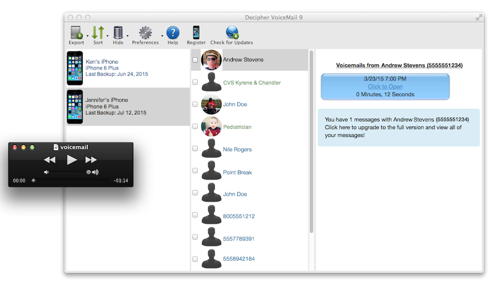 Screenshot of Decipher VoiceMail for macOS showing saved iPhone voicemails.