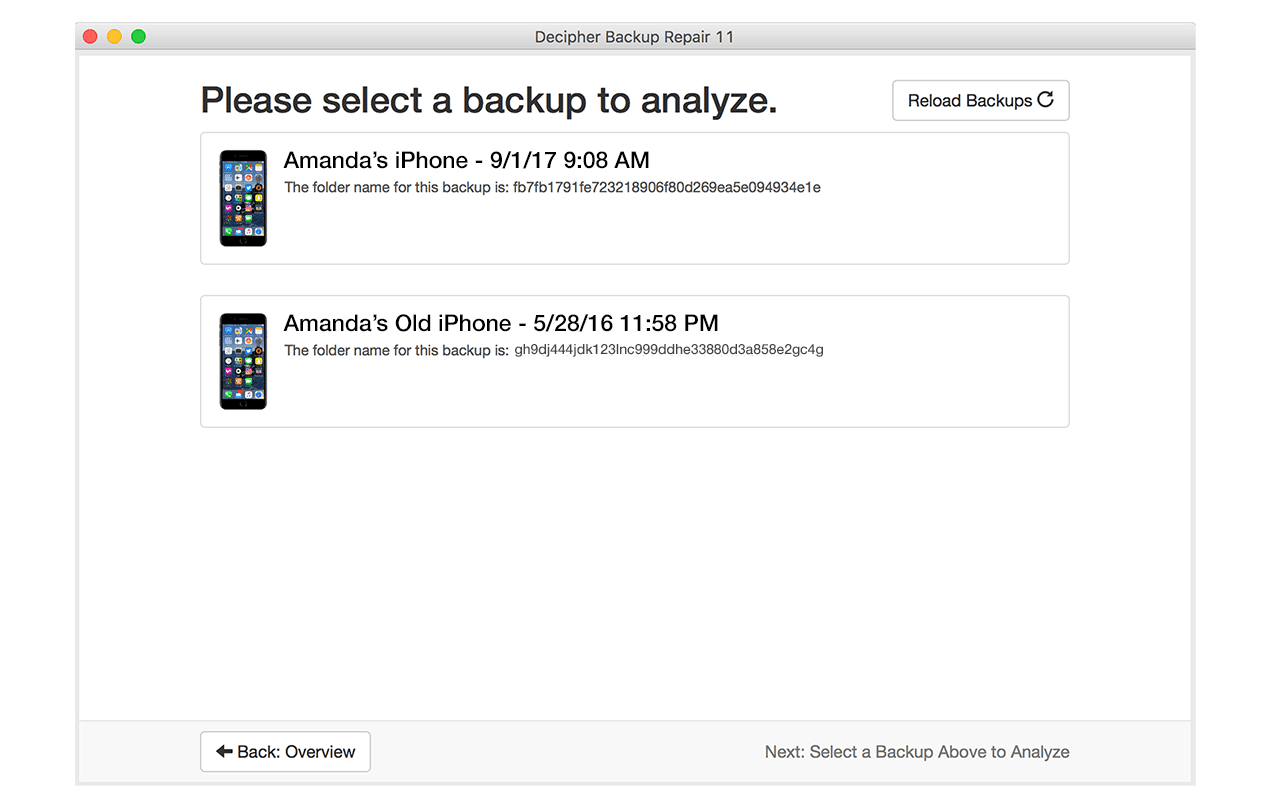 View all of your iOS backups and select the one you would like to repair.