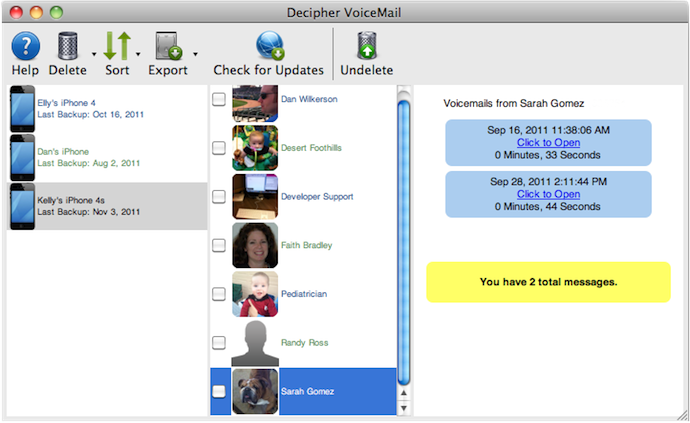View all of your iPhone voicemail history in an organized and easy-to-navigate interface.
