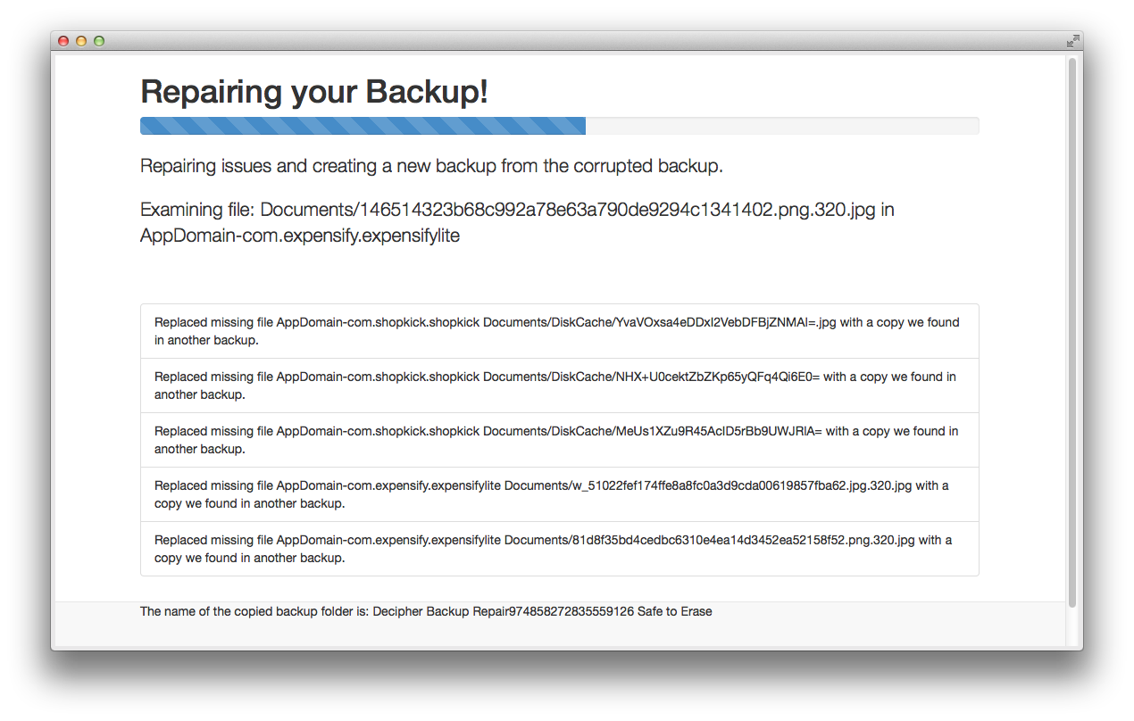 Recovering a corrupt iPhone backup using Decipher Backup Repair.