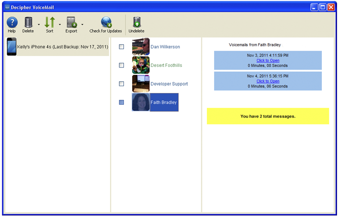 Screenshot of Decipher VoiceMail for Windows PC showing saved iPhone voicemails.