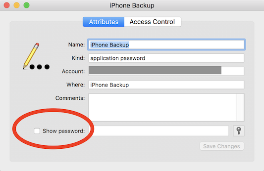 Find your iPhone encrypted backup password in macOS Keychain Manager.