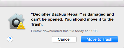 Decipher Backup Repair is damaged and can't be opened. You should move it to the Trash.