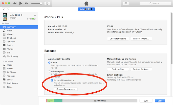 iTunes encrypted backups setting