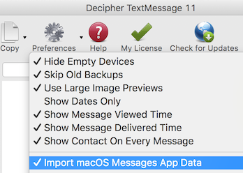 Enable Import macOS Messages App Data for printing iMessages from the Mac Messages app.