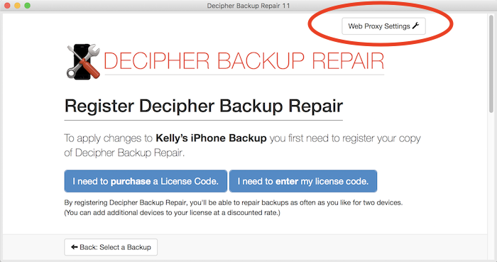 Web proxy settings in Decipher Backup Repair